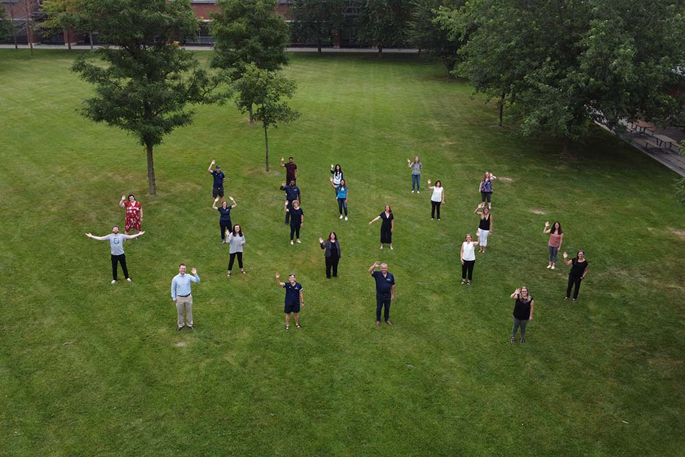Aerial  view of Academic Advisors with President and Provost