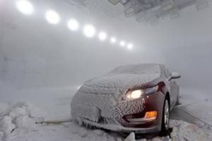 Car in blizzard test