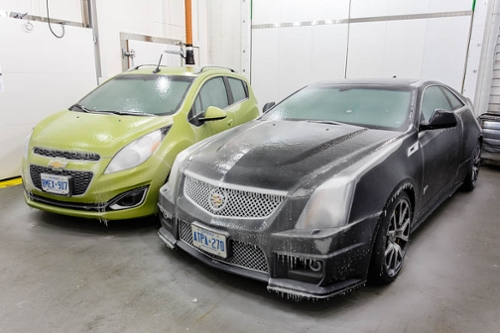 Frozen Cars in Small Climate Chamber