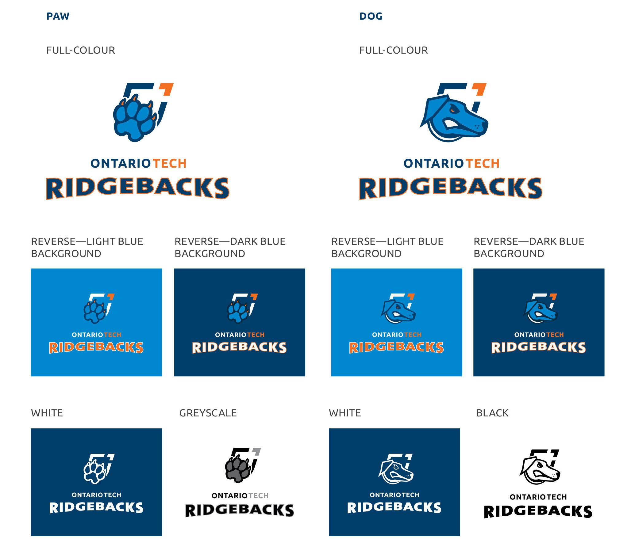 Ridgebacks primary symbol and wordmark logo versions