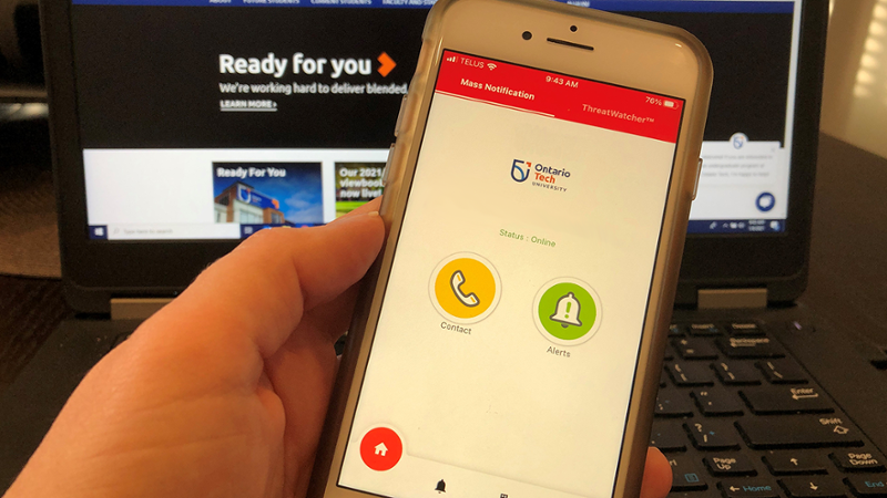 the alertus app is shown on an iphone screen.