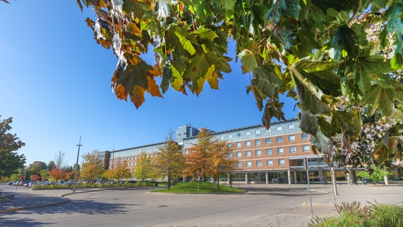 a view of the South Village Residence on campus.
