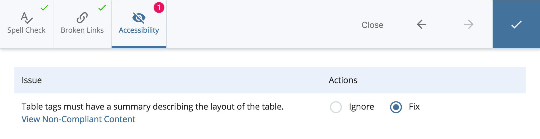 Accessibility check on tables