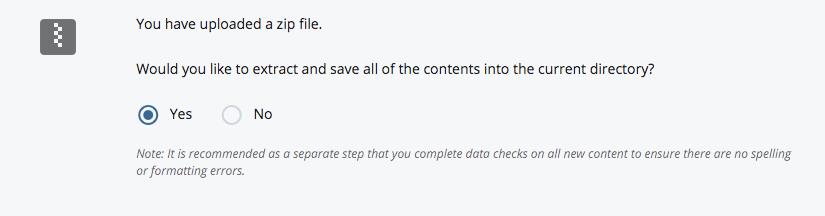 Uploading a zip file