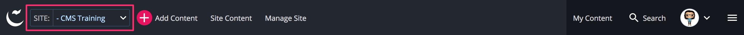 Site dropdown menu from the main toolbar