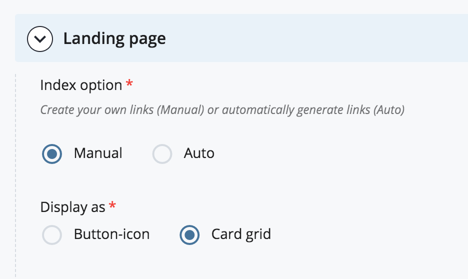 Choose the Manual index and Card grid layout options