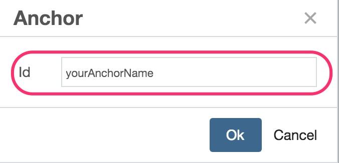 Enter anchor name screeshot