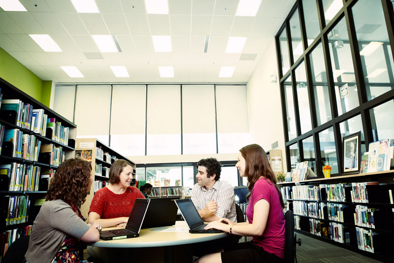 Sample image: Students studying in the UOIT Library