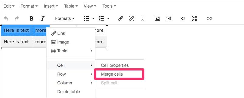Merge Table cells screenshot