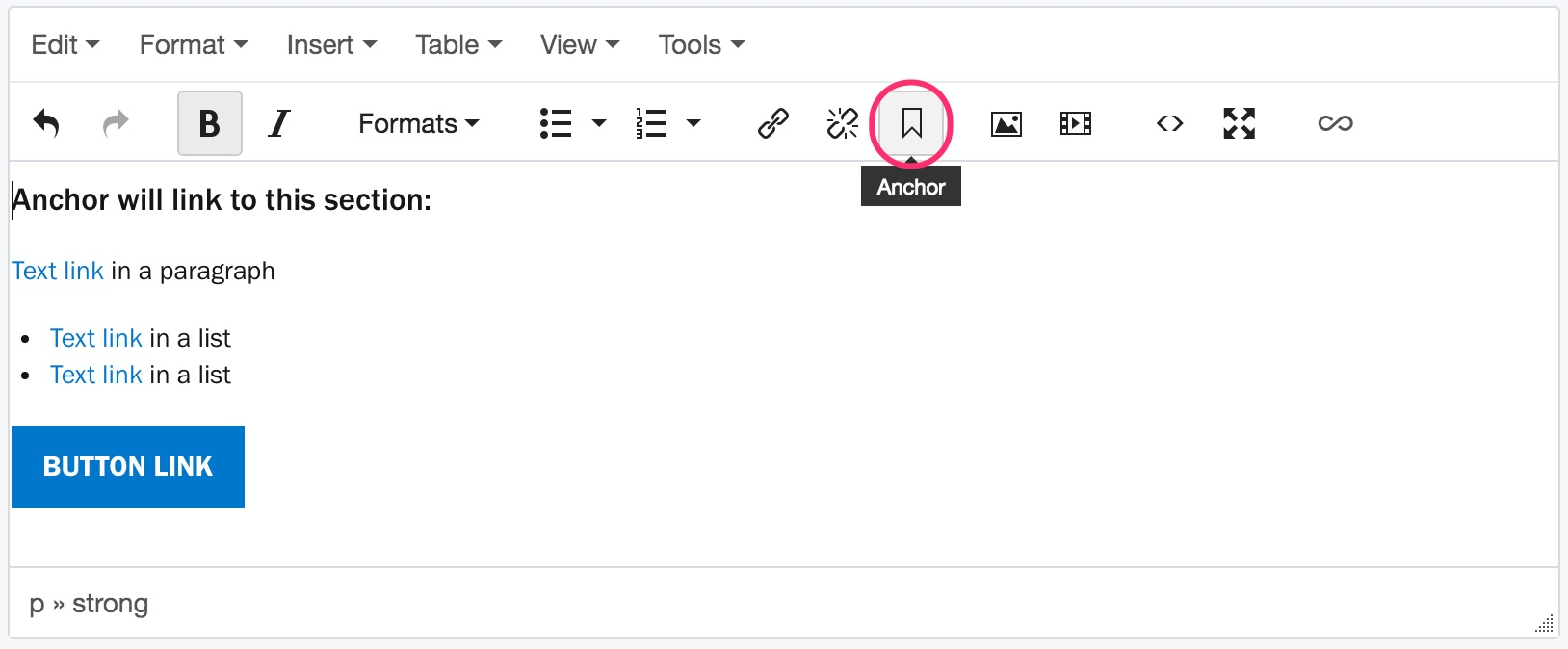 Image showing the Insert/Edit Anchor button