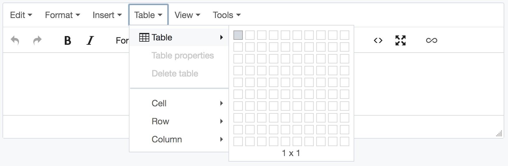 Insert table screenshot