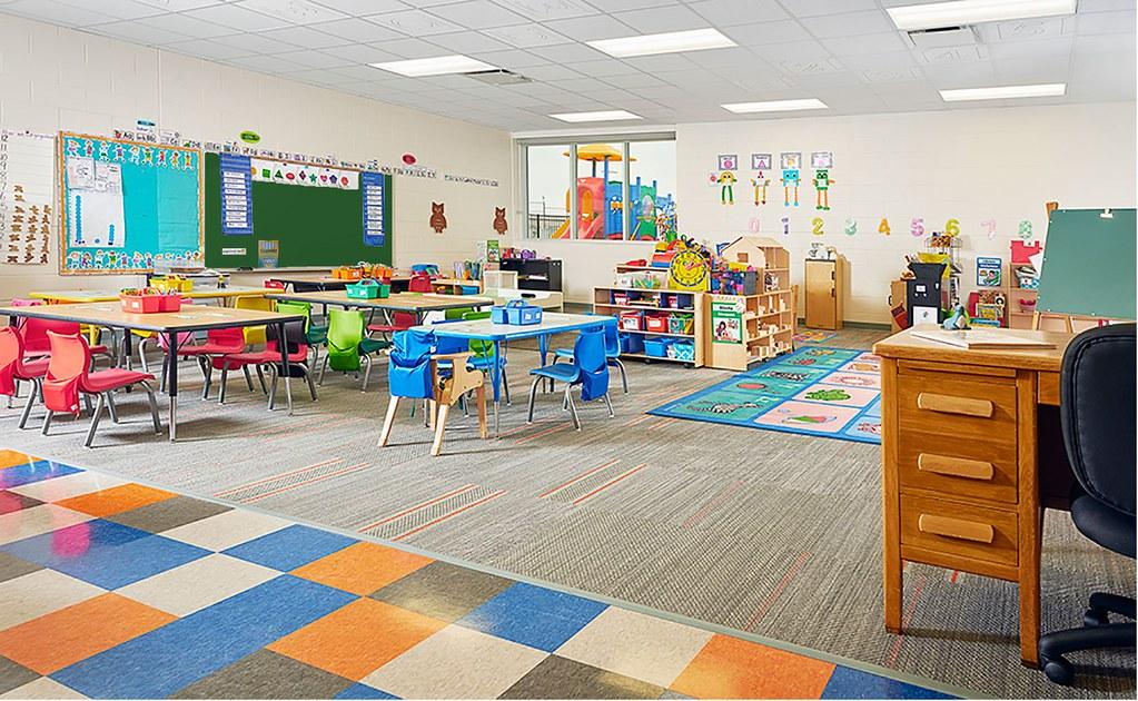a well lit classroom