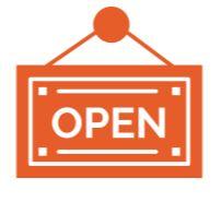 An door sign that says open