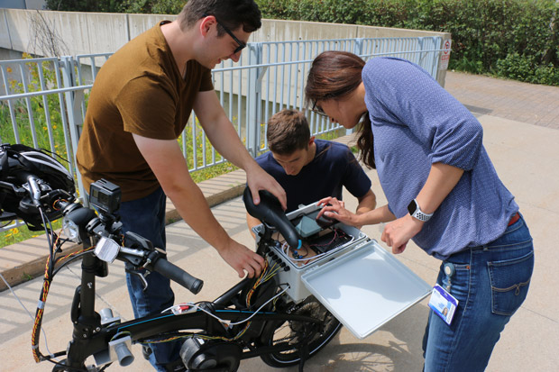 Students working on e-bike