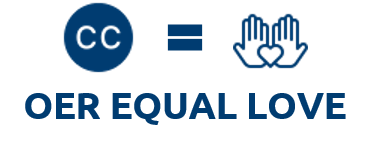 OER equal Love. A CC license, equals sign, hands holding a heart in a mathematical style equation. Icons from icons8.com