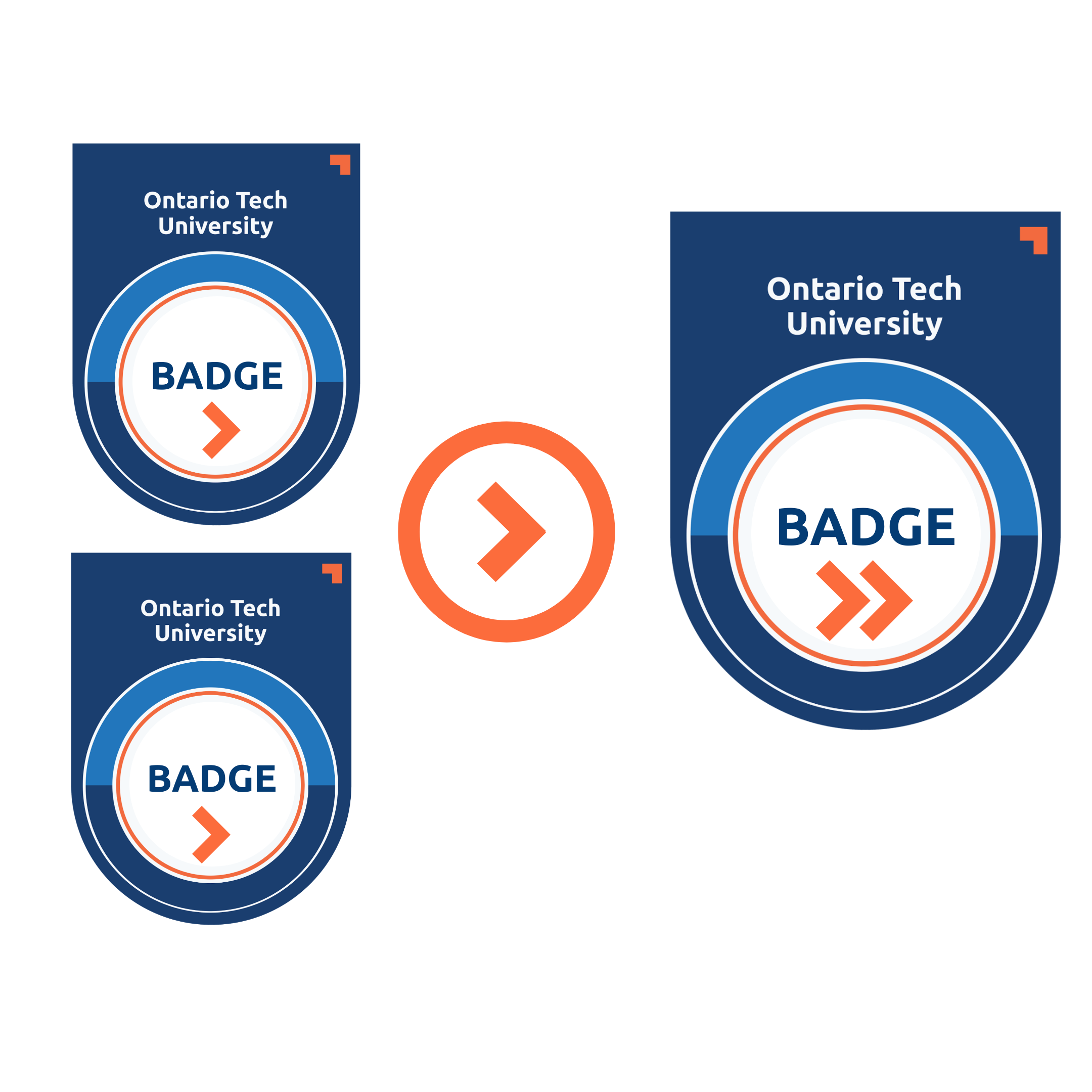 An illustration of two level-one badges, stacking toward a level 2 badge