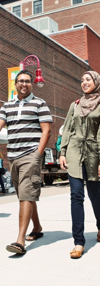 Students walking in downtown Oshawa