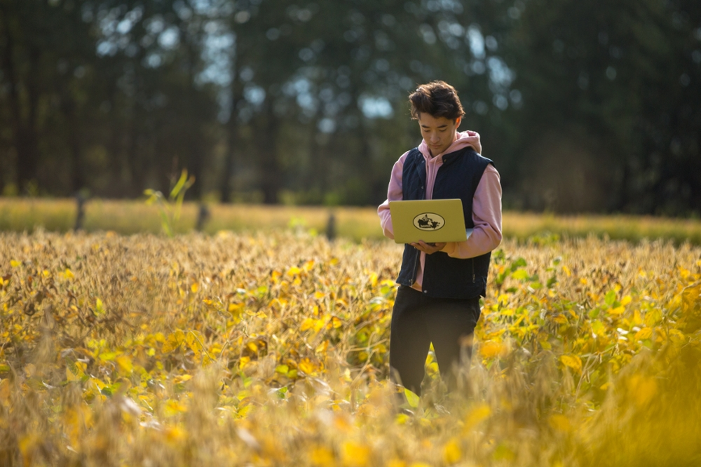 Student in field