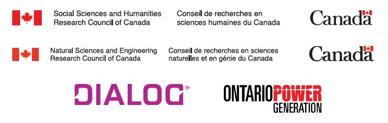 The logos of the organizations that supported the event include: the Government of Canada, Dialog and Ontario Power Generation