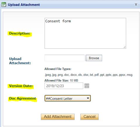 Upload Attachment box