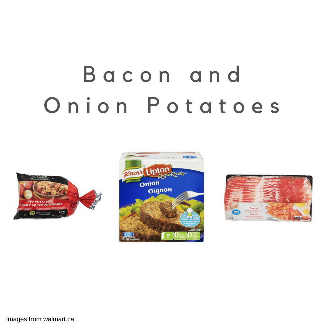 A bag of potatoes, a packet of onion soup mix, and a package of bacon on a white background.
