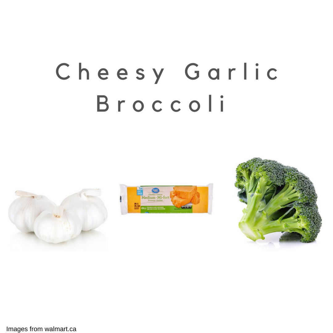 Garlic, cheese, and broccoli on a white background.