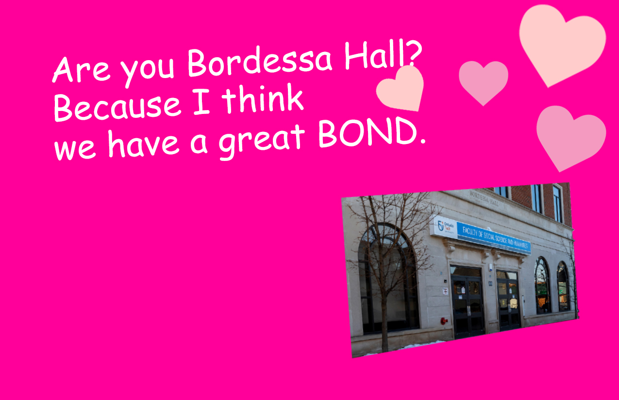 Are you Bordessa Hall? Because I think we have a great BOND!