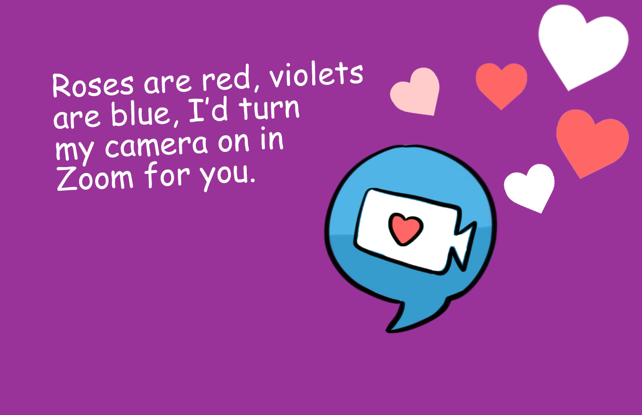 Roses are red, violets are blue, I'd turn my camera on in Zoom for you