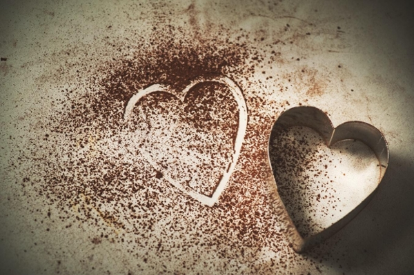 Chocolate dusted heart.