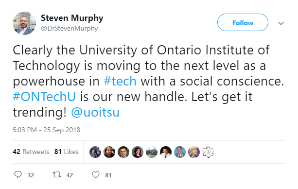 Steven Murphy tweet about ONTechU handle change