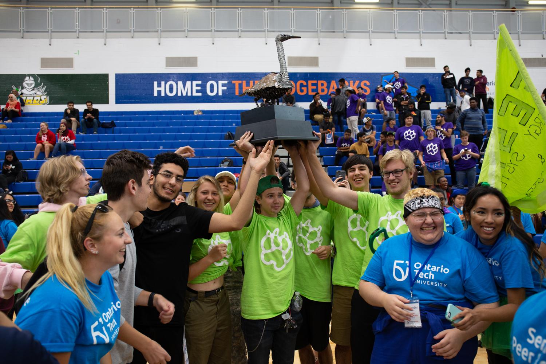 students celebrating at orientation