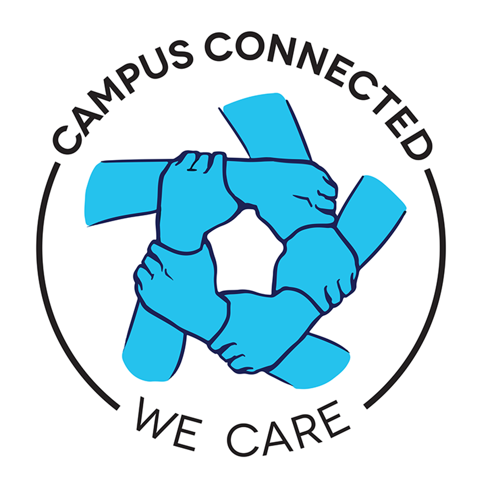 campus connect, five hands hold the wrist of another to form a circle