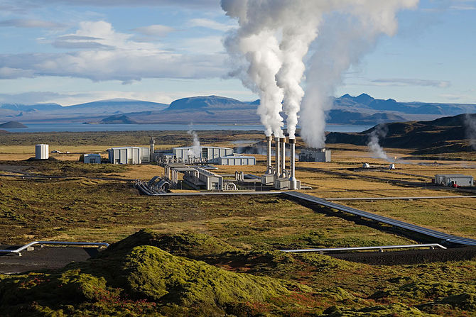 The Hellisheidi geothermal power plant in Iceland