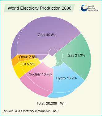 2008 World Electricity Production Chart by World Nuclear Association