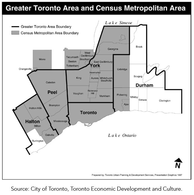 GTA and CMA map from Toronto Vital Signs Report 2014