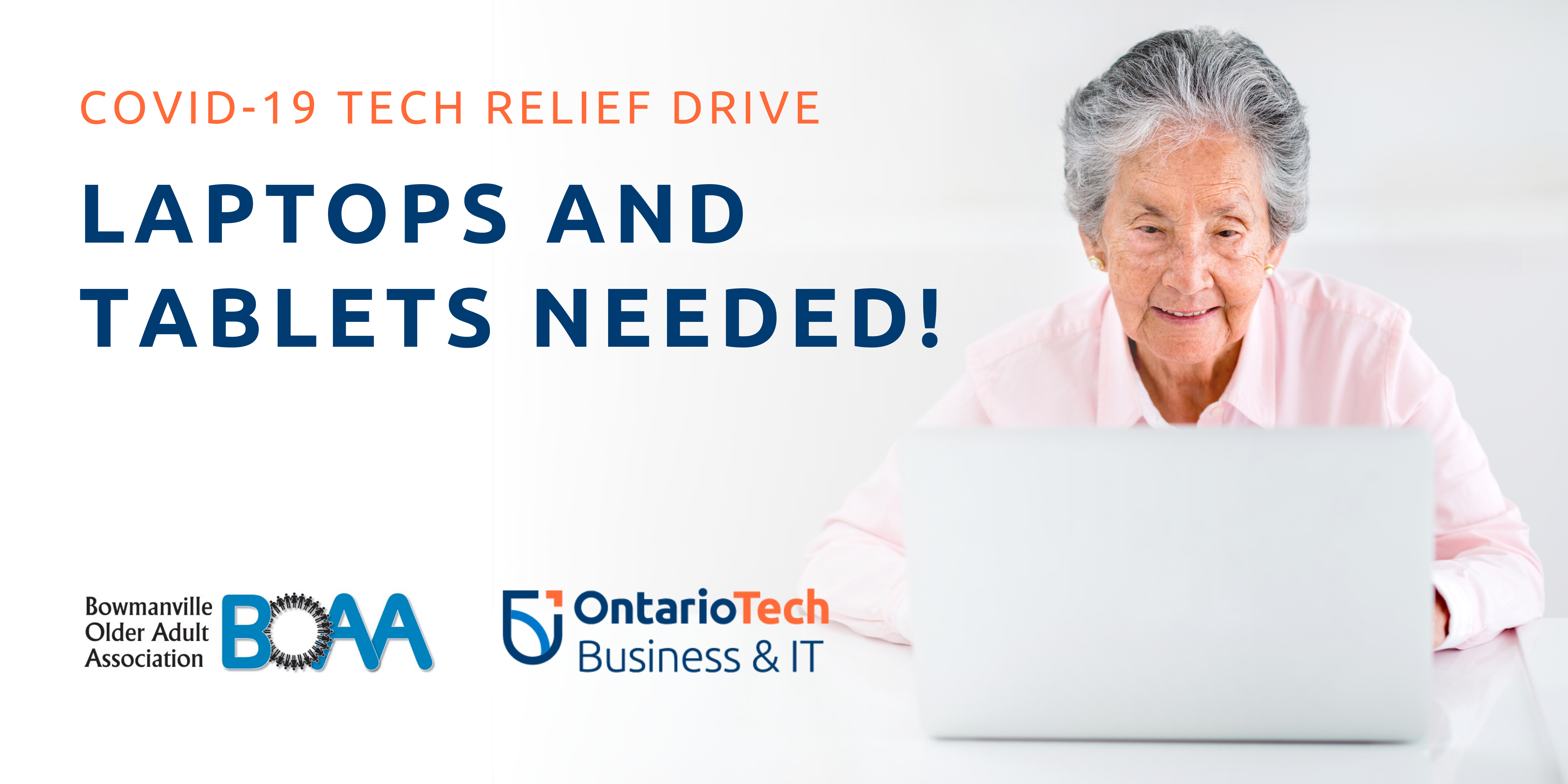 Covid 19 Relief Tech Drive by the Faculty of Business and IT and the Bowmanville Older Adult Association