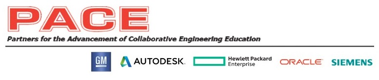 The logos of the Partners for the Advancement of Collaborative Engineering Education which include General Motors, Auto Desk, Hewlett Packard Enterprise, Oracle and Siemens