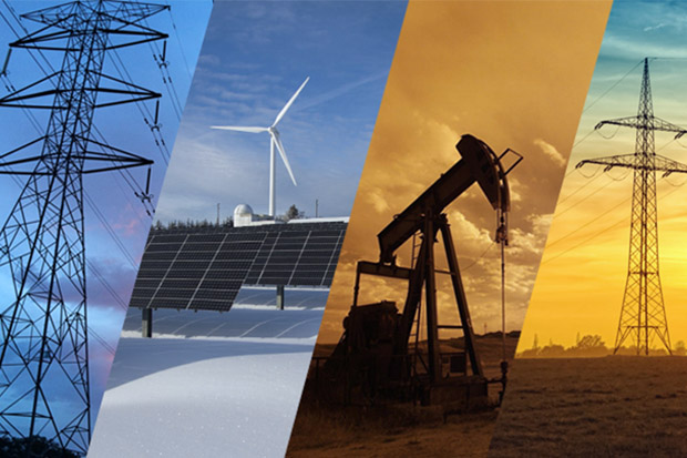 A variety of energy systems are shown, including power grids, solar and wind arrays and an oil driller.