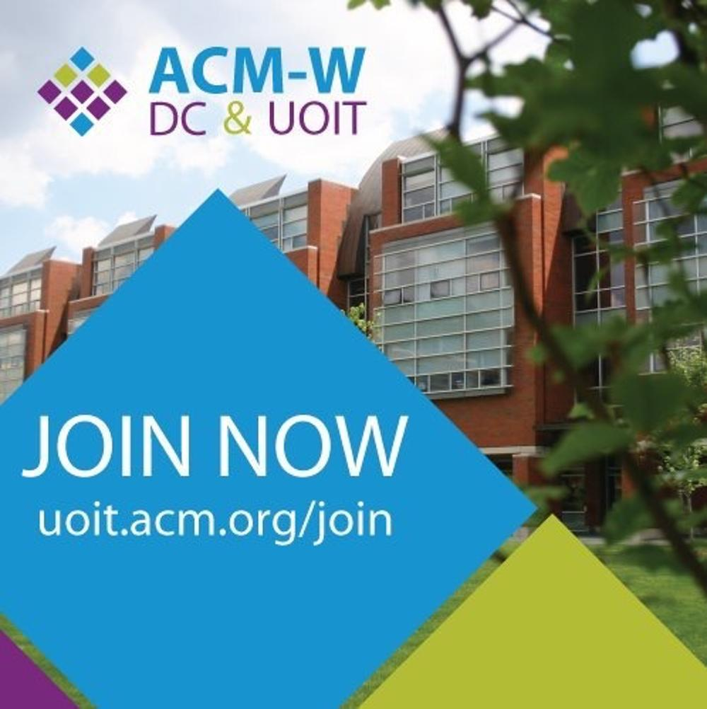 The image contains the following text: ACM-W DC & UOIT, JOIN NOW uoit.acm.org/join