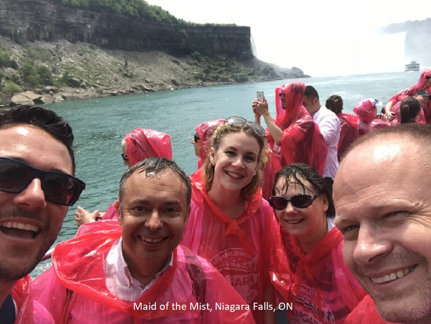 INHS conference participants on the Maid of the Mist during their trip to Niagara Falls, Ontario. ${altNumber}