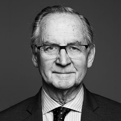 A black and White portrait of Supreme Justice Ian Binnie