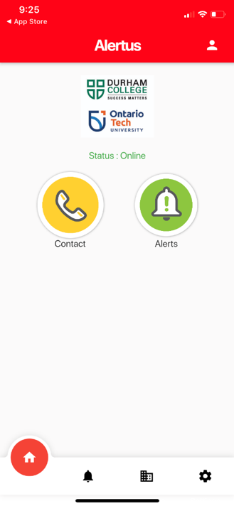 How the alertus app homepage appears on a mobile phone