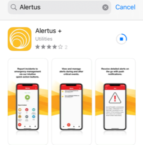 How the Alertus app appears within the App Store