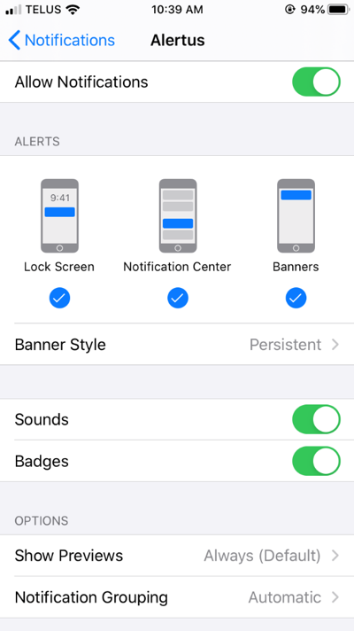 the recommended configurations for the Alertus app
