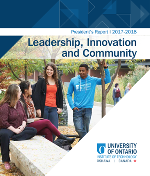 The cover of the President's Report 2017-2018: Leadership, Innovation and Community